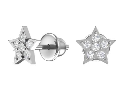 Серебряные пусеты «Звездопад»