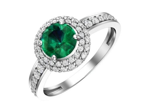 Серебряное кольцо с кварцем синтетическим изумрудным и фианитами