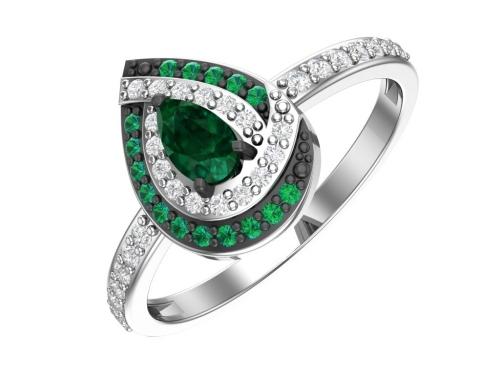 Серебряное кольцо с кварцем синтетическим изумрудным и бесцветными фианитами