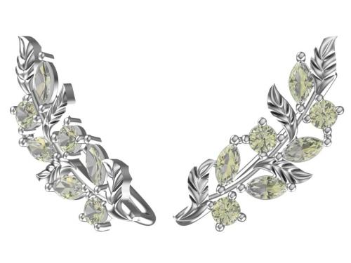 Серебряные серьги с зелеными фианитами
