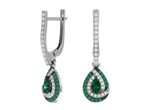 Серебряные серьги с кварцем синтетическим сапфировым и бесцветными, зелеными фианитами