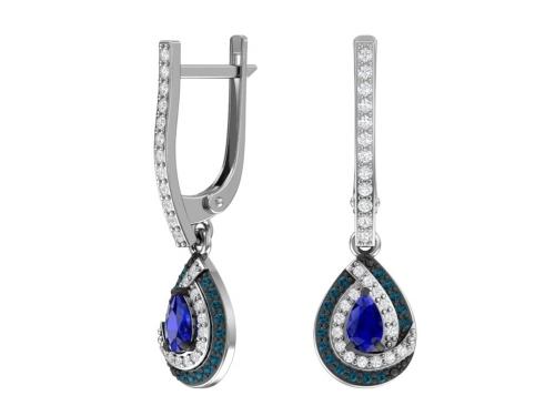 Серебряные серьги с кварцем синтетическим сапфировым и бесцветными,синими фианитами