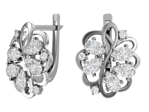 Серебряные серьги с бесцветными фианитами