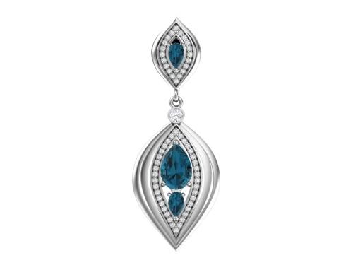 Серебряная подвеска с кварцем синтетическим синим и бесцветными фианитами