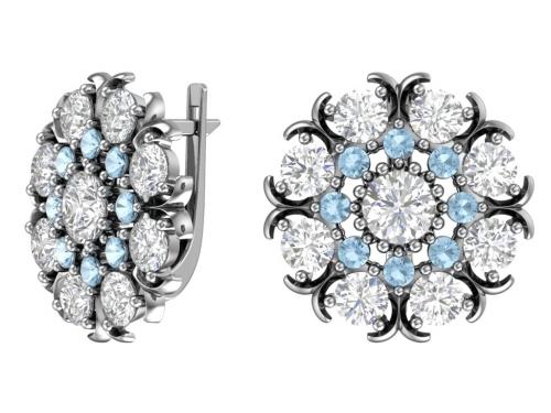 Серебряные серьги «Снежинка»