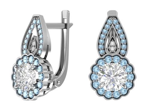 Серебряные серьги с голубыми и бесцветными фианитами