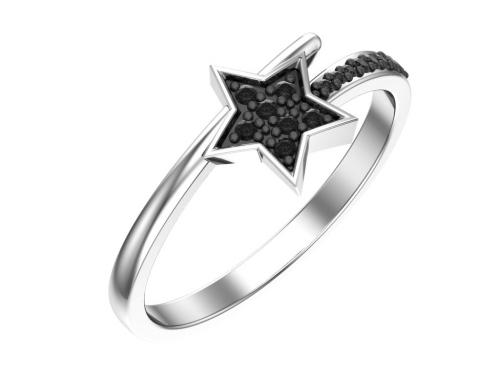 Серебряное кольцо «Созвездие» с чёрными фианитами