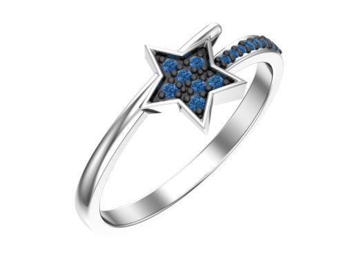 Серебряное кольцо «Созвездие» с синими фианитами