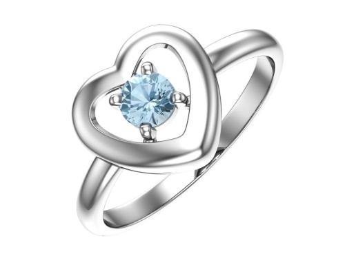 Серебряное кольцо с фианитом аква