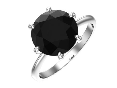 Серебряное кольцо с кварцем синтетическим чёрным