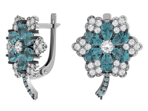 Серебряные серьги с кварцем синтетическим синим и фианитами аква, бесцветный