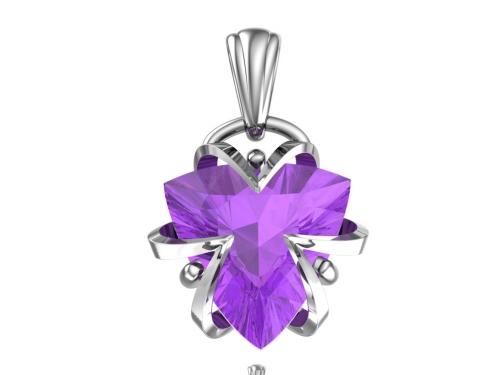 Серебряная подвеска с лавандовым синтетическим александритом 4101054-01485 pokrovsky фото