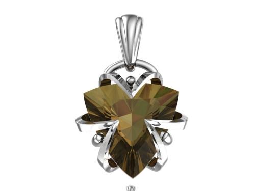 Серебряная подвеска с синтетическим александритом осень