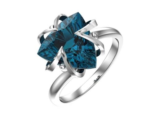 Серебряное кольцо с кварцем синтетическим синим