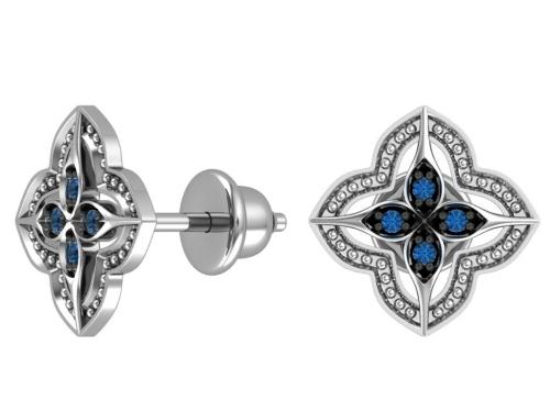 Серебряные пусеты с синими фианитами