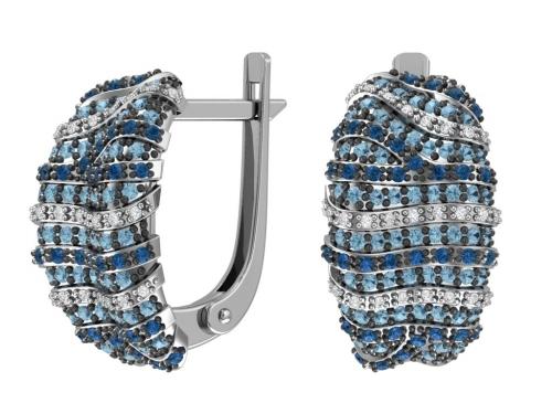 Серебряные серьги «Морской бриз» 2101062-00285 pokrovsky фото