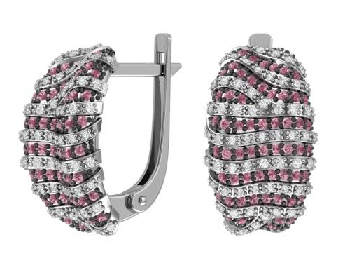 Серебряные серьги с бесцветными и темно розовыми фианитами