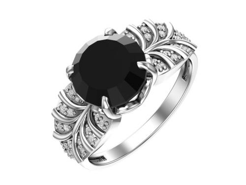 Серебряное кольцо с кварцем синтетическим чёрным и бесцветными фианитами