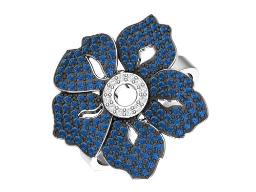 Серебряное кольцо с синими и бесцветными фианитами