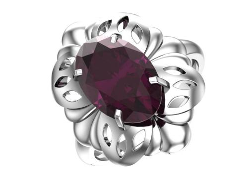 Серебряное кольцо с кварцем синтетическим аметистовым