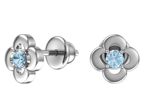 Серебряные пусеты с голубыми фианитами