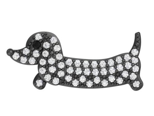 Серебряная брошь «Четыре лапы» с черным и бесцветными фианитами