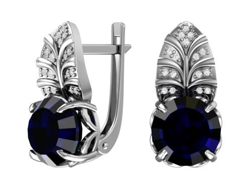 Серебряные серьги с кварцем синтетическим синим и бесцветными фианитами