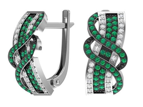 Серебряные серьги с зелеными и бесцветными фианитами