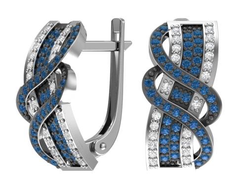 Серебряные серьги с бесцветными и синими фианитами