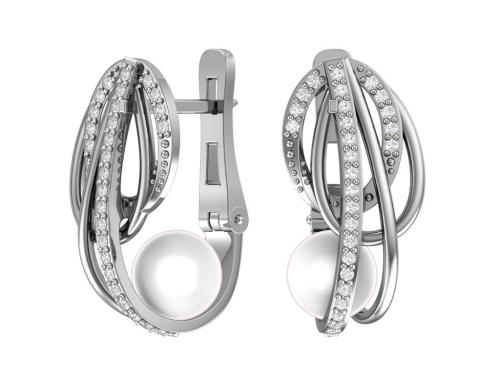 Серебряные серьги с имитацией жемчуга и фианитами