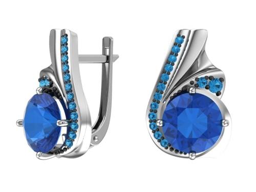 Серебряные серьги с кварцем синтетическим синим и фианитами аква