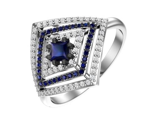 Серебряное кольцо с кварцем синтетическим сапфировым и фианитами сапфировыми и бесцветными