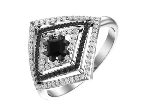 Серебряное кольцо с кварцем синтетическим черным и фианитами черными и бесцветными