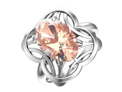Серебряное кольцо с кварцем синтетическим морганитовым