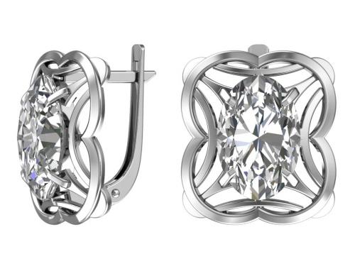Серебряные серьги с кварцем синтетическим серым