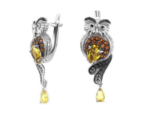 Серебряные серьги с кварцем синтетическим жёлтым и черными, гранатовыми фианитами