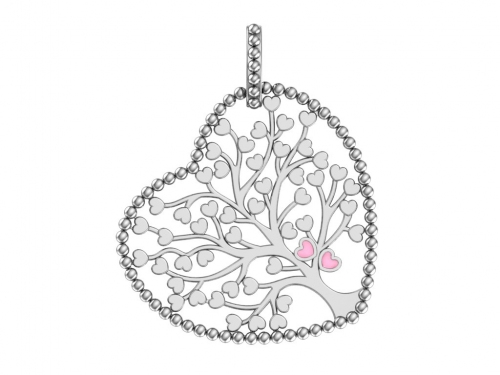 Серебряная подвеска с розовой эмалью