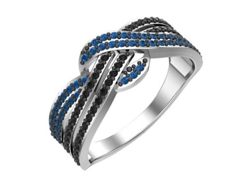 Серебряное кольцо с синими и чёрными фианитами