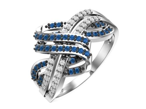 Серебряное кольцо с сапфировыми и бесцветными фианитами