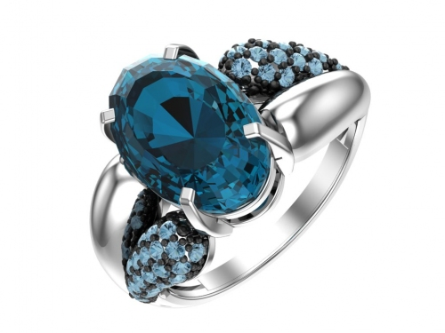 Серебряное кольцо с кварцем синтетическим синим и фианитами аква