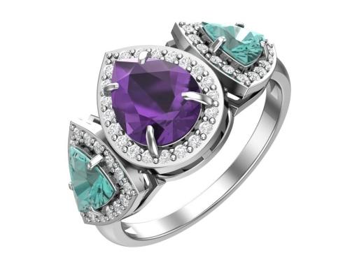 Серебряное кольцо с кварцем синтетическим аметистовым, параиба и бесцветными фианитами