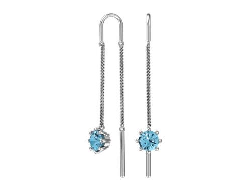 Серебряные серьги с голубыми фианитами 0221361-00585 pokrovsky фото