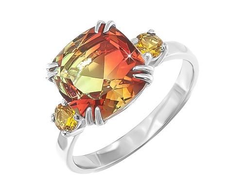 Серебряное кольцо с жёлто-зеленым ювелирным стеклом и с жёлтыми фианитами
