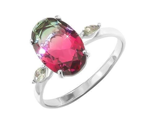 Серебряное кольцо с ювелирным стеклом красно-зеленым и с зелёными фианитами