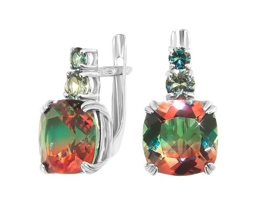 Серебряные серьги с ювелирным стеклом оранжево-зеленым и зелеными фианитами