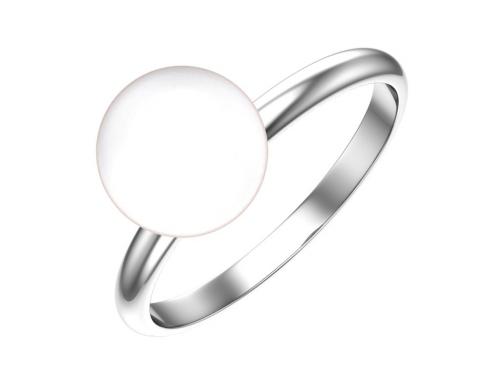 Серебряное кольцо с жемчугом имитация белый