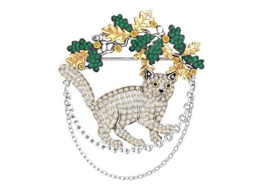 Серебряная брошь «Кот ученый» с золочением и цветными фианитами
