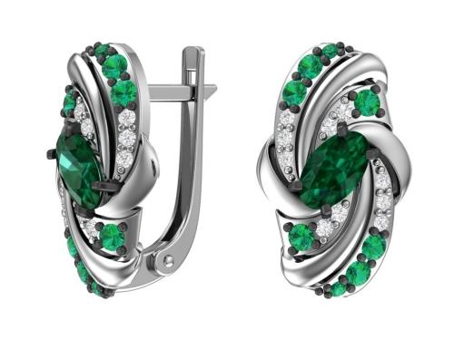 Серебряные серьги с кварцем синтетическим изумрудным, фианитами зелеными и бесцветными