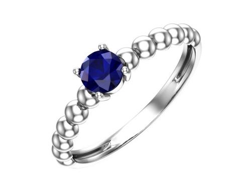 Серебряное кольцо с кварцем синтетическим сапфировым