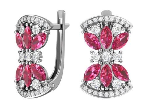 Серебряные серьги с бесцветными и рубиновыми фианитами